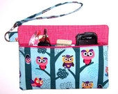 Turquoise Owls Wristlet, Pink Clutch, Owls in Trees Wallet, Zippered Makeup Bag, Phone Holder
