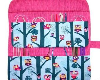 Turquoise Pink Circular Knitting Needle Holder, Owl  Print Crochet Hook Storage, Double Pointed Needle Organizer Case