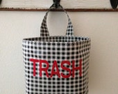 Beth's Gingham Oilcloth Car Trash Bag Receptacle Container