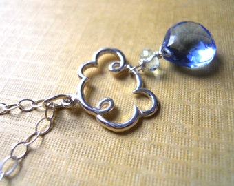 Cloud Charm Necklace, Cloud Jewelry, Raindrop Jewelry, Periwinkle Rain Cloud, Sterling Silver cloud, Weather jewelry,