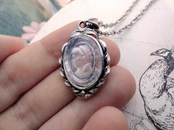 Clear Glass Cameo In Victorian Silver Setting Necklace