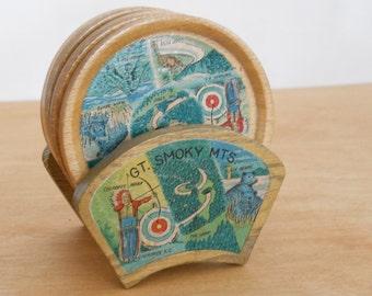Vintage Souvenir Coaster Set • Great Smoky Mountains • Wood Made in Japan