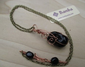 Black Agate Necklace Copper Wire Wrapped Celtic