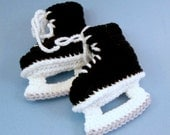 Baby Hockey Skates Baby Booties Crochet Black Ice Skates