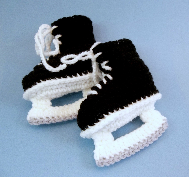 Free Crochet Pattern Baby Hat With Bow : Baby Hockey Skates Baby Booties Crochet Black Ice Skates