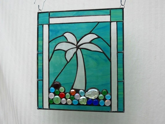 Stained Glass Panel, Glass Garden Flag, Suncatcher Beveled Palm Tree in Shells and Nuggets