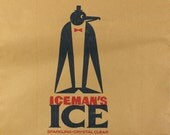 1930s Penguin Ice Delivery Bag, Excellent Vintage Art Deco Graphic for Framing