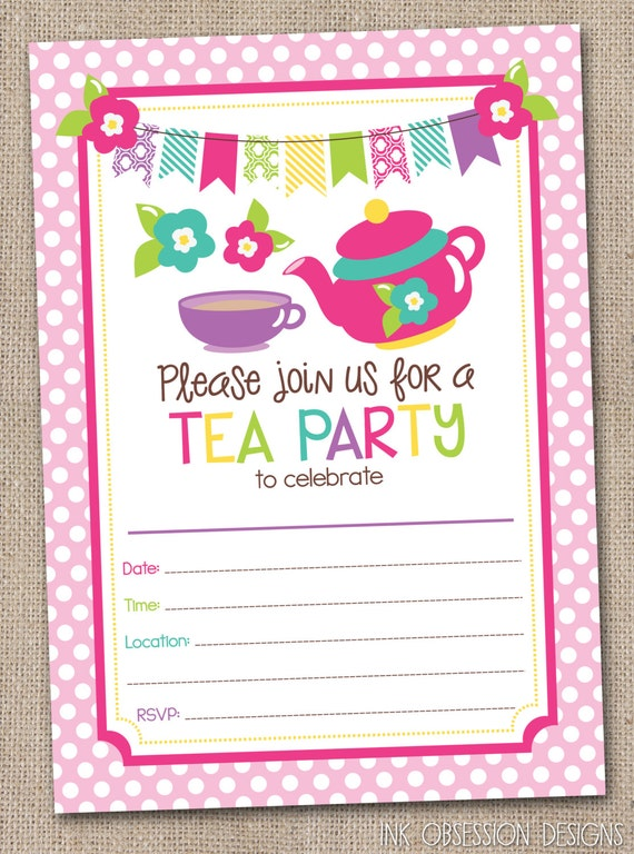 printable girls tea party birthday by inkobsessiondesigns