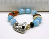 Pastel Blue and Carnelian Boho Beaded Bracelet
