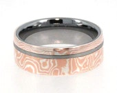 Mens Tungsten Rings / Mokume Gane Ring / Tungsten Ring inlaid with Mokume Gane - New1013