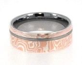 Mens Tungsten Rings / Mokume Gane Ring / Tungsten Ring inlaid with Mokume Gane - New1013