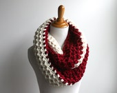 Red and White Scarf, NC State Scarf, Wolfpack Scarf, Peppermint Scarf, acc Scarf, Football Scarf, Infinity Scarf
