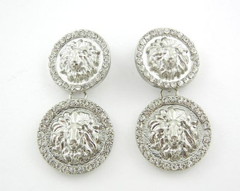 Pair of Silver-tone Double Round Lion Drop Charms