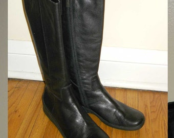 comfy sleek vintage tall black leather slim design knee boots 8.5 M
