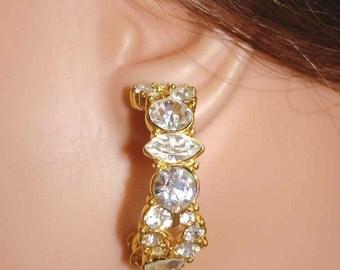 glamorous vintage MONET faux diamonds gold hoops pierced earrings