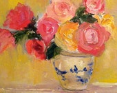 Roses in Blue and White Vase - Roses- Original Flower Painting- Still Life Oil Painting- 12 x 12 Stretched Canvas- Pink- Green- Yellow