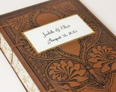 Dainty Wedding Guest Book, Vintage Inspired - includes couple's names and date