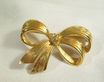 Vintage 70s Avon Brushed Gold Bow Brooch Pin Rhinestones Big and Beautiful