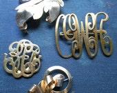 vintage brass brooch - bow, leaf, monogram - vintage junk jewelry repair lot for repurposing