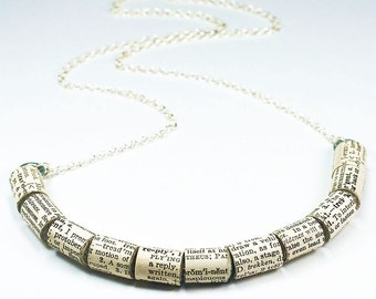 Paper Bead Jewelry- English Dictionary Upcycled Paper Bead Necklace, Book Lover Gift, Paper Jewelry, Dictionary Necklace by Tanith Rohe