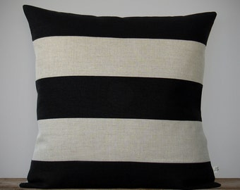 Rugby Striped Pillow Cover in Black and Natural Linen by JillianReneDecor - Modern Home Decor - Stripes - Gift for Him