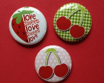 Berries And Cherries Pinback Buttons set of six