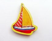 YACHT - Sailboat Brooch - Lapel Pin / Yellow - Red - Blue Wood Brooch / Nautical Pin / Upcycled 1960s Wood Puzzle Piece / GIft Under 15