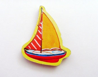 Yacht - Sailboat Brooch - Lapel Pin / Yellow, Red & Blue Wood Nautical Brooch - Pin / Upcycled 1960s Wood Puzzle Piece / Gift Under 25