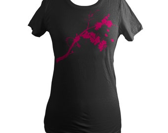 Bird, Japanese Ume Blossoms Womens Summer T-Shirt, Black, Kinglet, Screen Printed - Gifts for Her
