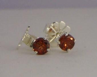 Red Orange Garnet Studs Handmade Sterling Silver Ladies Pair of Post Earrings