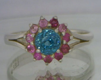 Blue Zircon and Pink Sapphire Ruby Handmade 925 Silver Ladies Halo Ring size 8