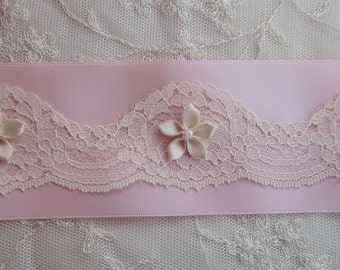 2.5 inch ORIGINAL DESIGN Vintage Chic Pink Satin Ribbon Trim Lace Ivory Pearl Bead Flower Reborn Baby Doll Quilt Bridal Pageant Clothing