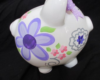 personalized piggy bank fun flower vera pink purple and grey accents