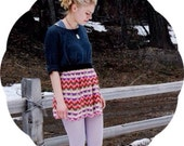 SALE Bianca Chiffon Mini Skirt >> Geometric Stripe | Chariots Afire Gathered Elastic Waist Lined Skirt Striped Plum Red Yellow Brown Chevron