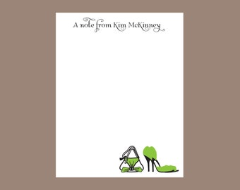 Green high heel and purse notepad, personalized notepad, teacher gift, stocking stuffer