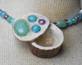 Aventurine Blue Quartzite Goddess Shed Elk Antler Pill Box Necklace with Rainbow Quartz Semiprecious Stone Gemstone Beads Large Size