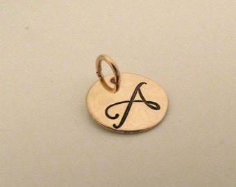 Small charm - gold filled charm - initial charm