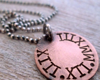 Save the Date- Valentine's Day Necklace -  Roman Numerals Necklace - Gift for Him - Anniversary gift for him