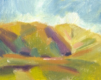 expressive oil landscape painting on canvas small 6x8 Secret Valley Shadows