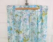 Vintage Set Curtains Drapes Aqua Blue Flowers Girl Fabric Linens Pinch Pleats