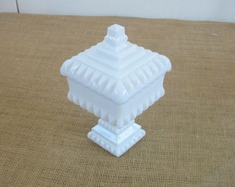 Vintage Milk Glass Candy Dish Compote White Hobnail Shabby Cottage Chic