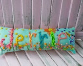 SIX LETTER Free hand Embroidered Bohemian Name Pillow Made To Order