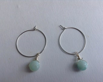 Silver Hoop Earrings with Amazonite Drops