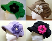 Best warm winter newsboy cap, satin or fleece lined, oversized or more fitted with removable crochet flower - MADE TO ORDER