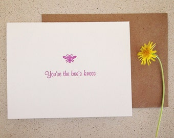 SALE! You're the bee's knees letterpress card