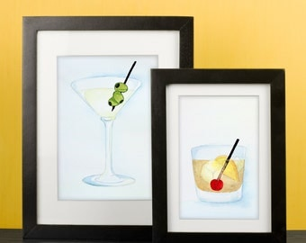 Commission an original watercolor painting: Martini, Old Fashioned, Cosmo, French 75, Manhattan, Tequila Sunrise, Champagne, Scotch & more!