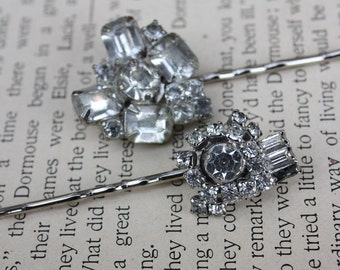 Set of Two Repurposed Rhinestone Earring Hairpins