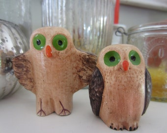 Set of Two Vintage Owls Mother and Owlet