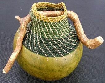 Embellished Gourd in Shades of Green