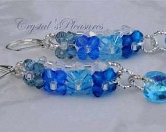 Woven Crystal Swarovski Elements Blue Leverback Silver Earrings